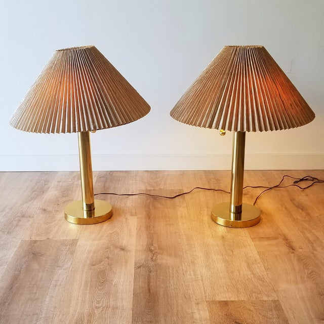 Mid 20th Century Mid-Century Brass Table Lamps With Original Shades - a Pair For Sale - Image 5 of 13
