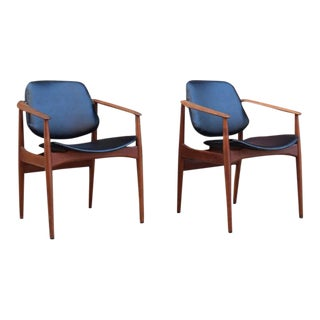 Arne Vodder Teak & Leather Armchairs - A Pair