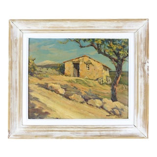 1950s French Landscape Oil Painting by Trouillard, Framed For Sale
