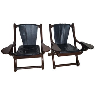 Awesome Pair of Don Shoemaker Rosewood Swinger Chairs For Sale
