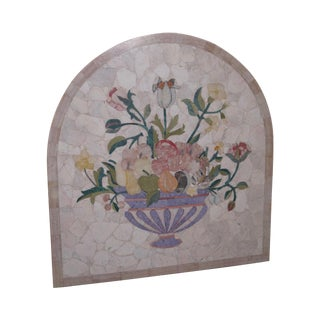 Italian Pietra Dura Onyx Marble Inlaid Wall Plaque For Sale