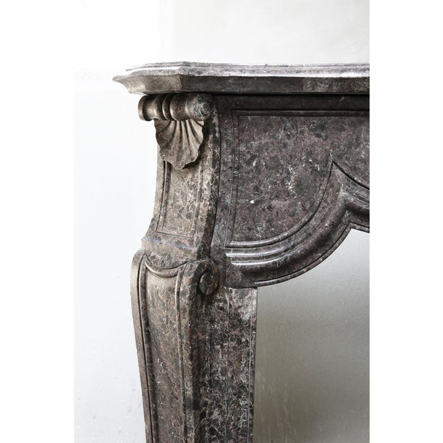 Marble Antique Marble Fireplace - 19th Century - Louis XV For Sale - Image 7 of 9