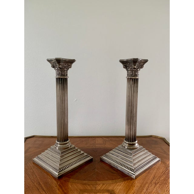 Early 20th Century Silver Corinthian Column Candlesticks - a Pair For Sale In South Bend - Image 6 of 6