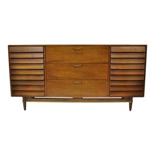 Merton Gershun American of Martinsville Walnut Louvered Credenza Cabinet Dresser For Sale