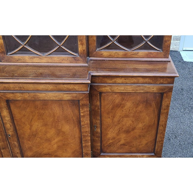 Old Colony Furniture Vintage Late 20th Century Regency Style Old Colony Furniture Mahogany Breakfront Cabinet C1970s For Sale - Image 4 of 13
