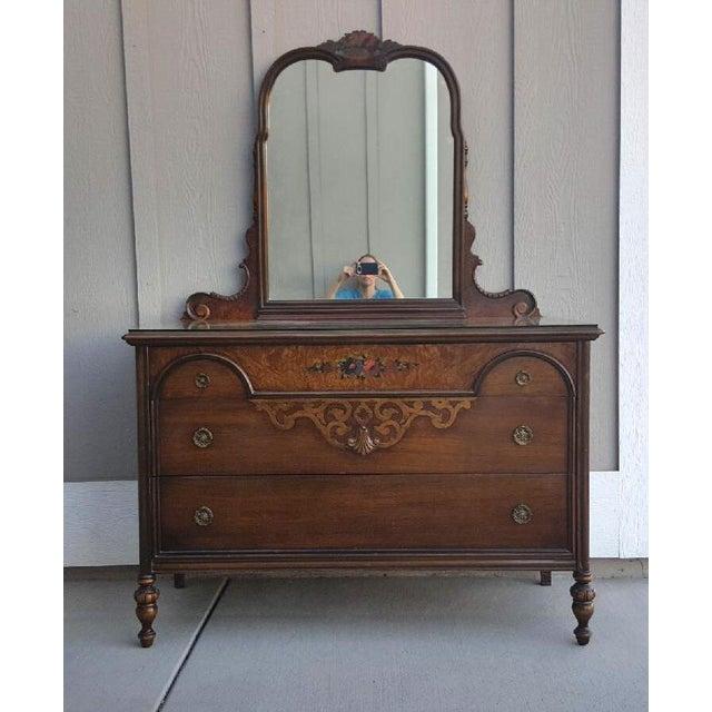 1920's Berkey & Gay Walnut Dresser With Mirror