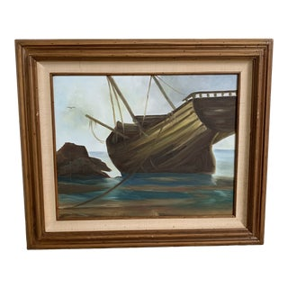 Vintage Mid-Century Shipwreck Framed Oil Painting For Sale