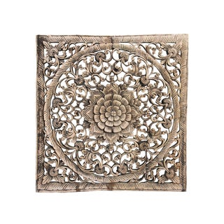 "Sunbleached Square Carved Panel 24"" For Sale"