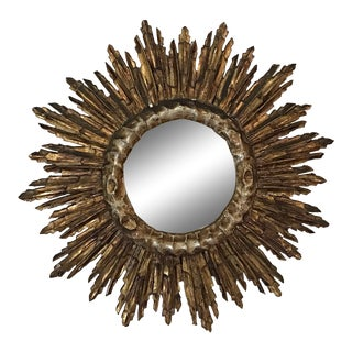 1950s Vintage Mid-Century French Giltwood Sunburst Wall Mirror For Sale