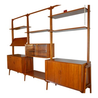Erik Buch Danish Modern Freestanding Teak Room Divider Shelving System For Sale