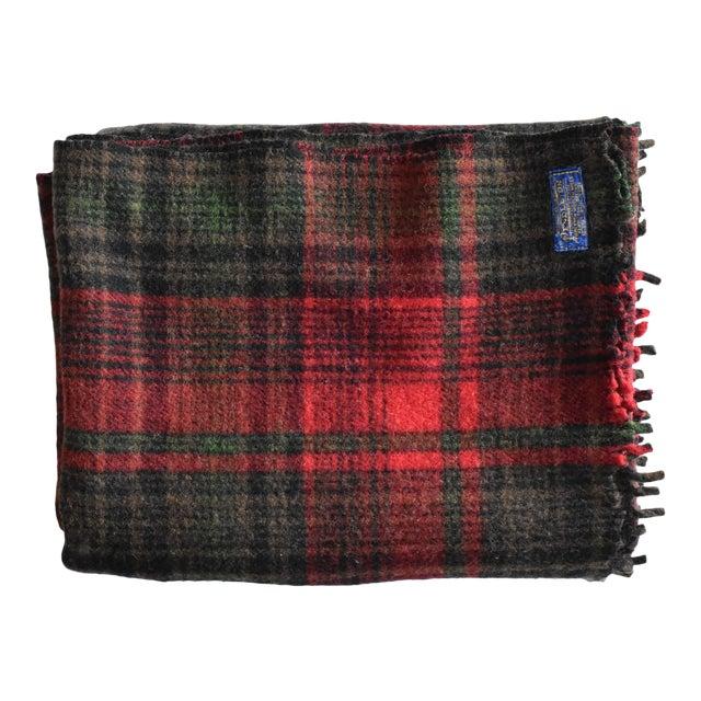 Vintage Pendleton Woolen Mills Red & Green Plaid Wool Blanket For Sale