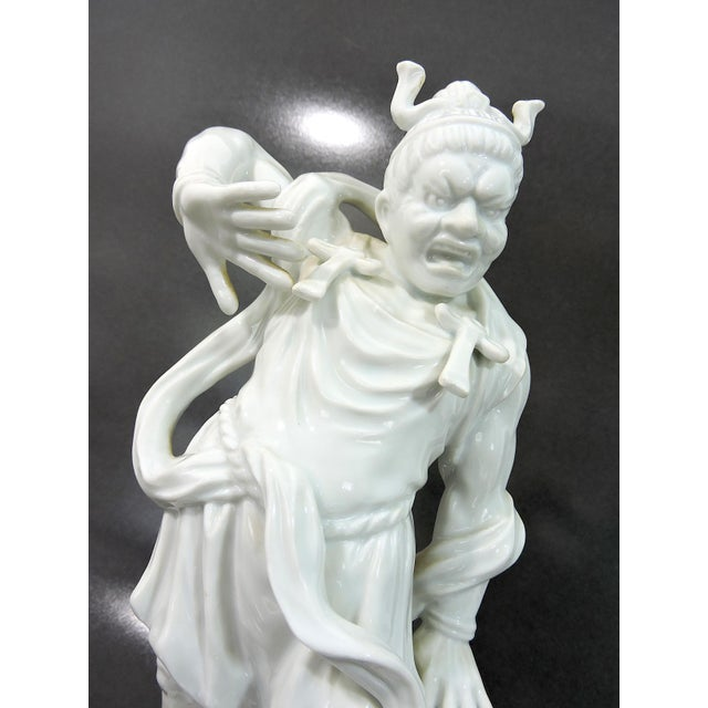 Fitz and Floyd Blanc De Chine Chinese Deity or War Lord Figure on Solid Rosewood Stand For Sale In Tampa - Image 6 of 8