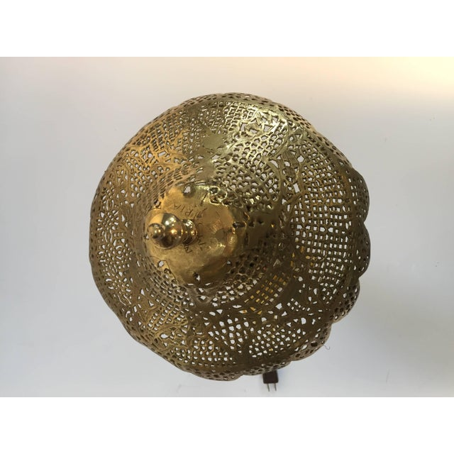 Gold Moorish Revival Brass Syrian Table Lamp For Sale - Image 8 of 11