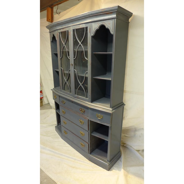 Gold Vintage Mahogany Gray Cupboard For Sale - Image 8 of 11
