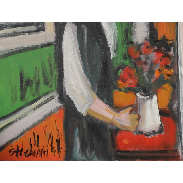 """Expressionism """"Interior of Girl With Flowers"""" Colorful Expressionist Oil Painting C. 1997 For Sale - Image 3 of 5"""