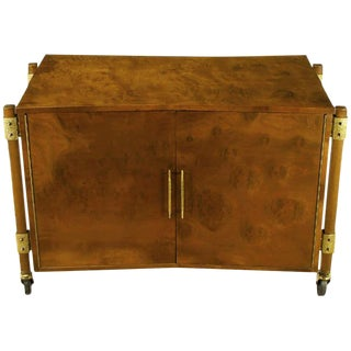 Harold Schwartz Burled Walnut Farfalla-Form Rolling Bar Cart For Sale