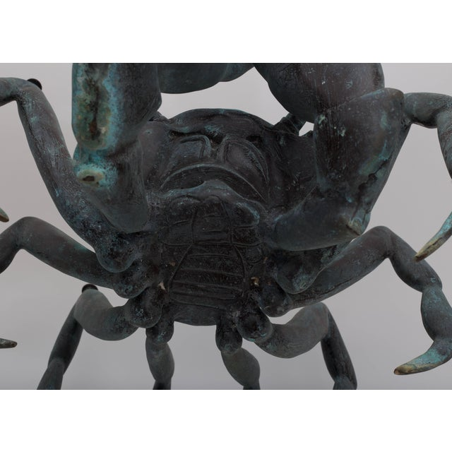 Gray Bronze Crab-Form Sculpture Cocktail Table With Round Glass Top For Sale - Image 8 of 9