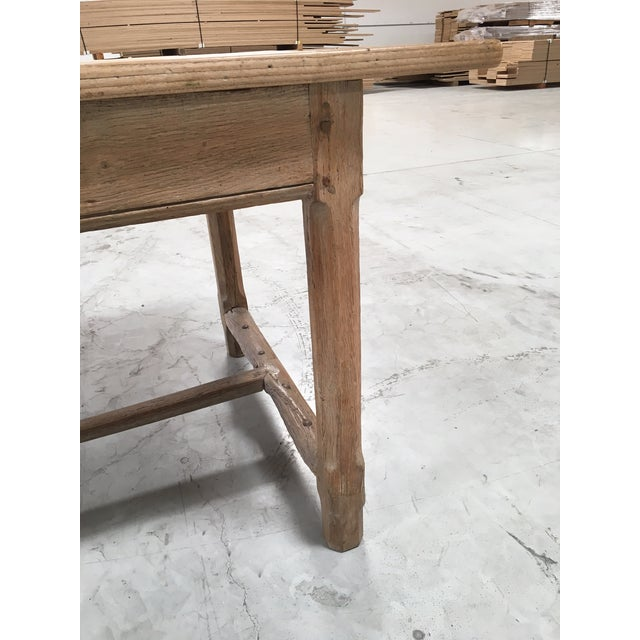 Brown Antique Pale Blonde Beech Farm Table For Sale - Image 8 of 9