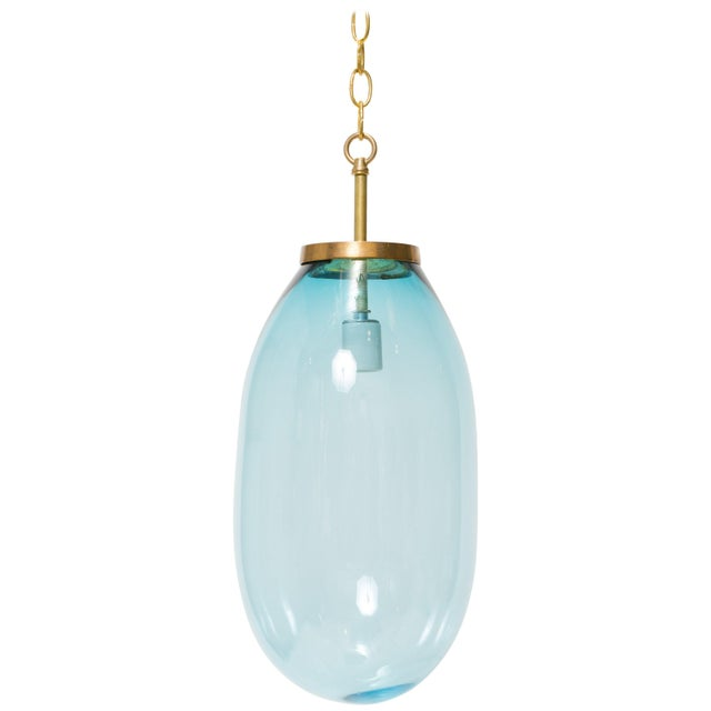 Blown Glass Large Blue Blown Glass Pendant For Sale - Image 7 of 7