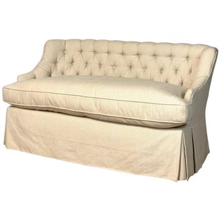 Custom Down-Filled Buttoned Back Settee For Sale
