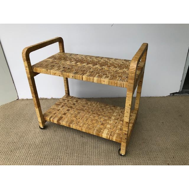 1980s 1980s Boho Chic Rattan Bar Cart For Sale - Image 5 of 11