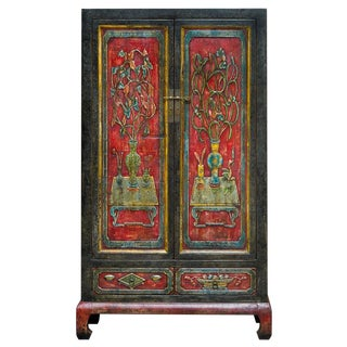Vintage Chinese Dong Bei Distressed Multicolor Armoire