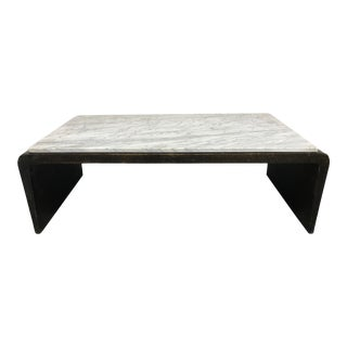 Modern Brutalist Waterfall Coffee Table With Marble Top For Sale
