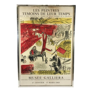 "1963 ""Les Paintres Temoins De Leur Temps"" French Chagall Lithograph Poster For Sale"
