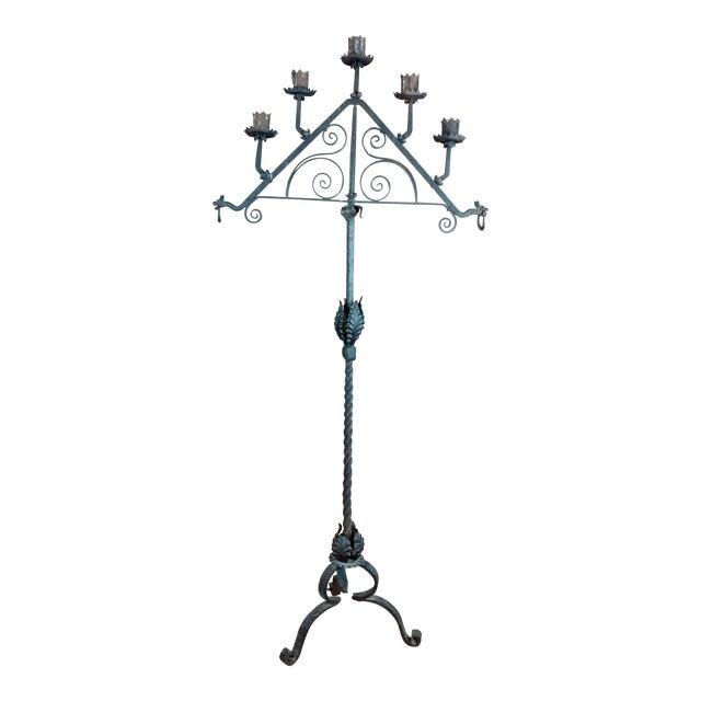 Antique Spanish Gothic Wrought Iron floor Candelabra For Sale