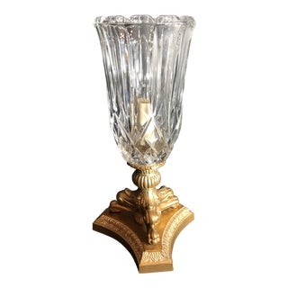 Vintage Hurricane Electric Lamp Cut Glass Holder on Metal / Wood Base For Sale