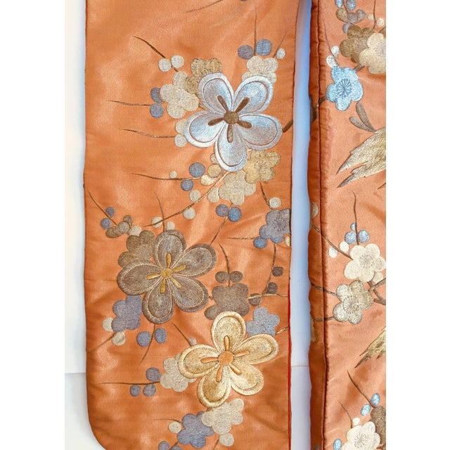 Gold Vintage Brocade Japanese Ceremonial Kimono in Orange, Gold and Silver For Sale - Image 8 of 13