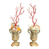 Image of Baroque-Style Carved Silver Gilt Urns With Shell & Faux Coral Composition - a Pair For Sale