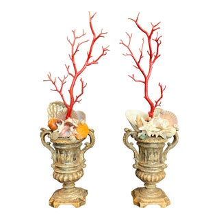 Baroque-Style Carved Silver Gilt Urns With Shell & Faux Coral Composition - a Pair For Sale