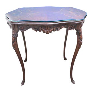Antique Rococo Style Turtle-Shaped Top Scrolled Inlay and Custom Glass Top Side Table For Sale