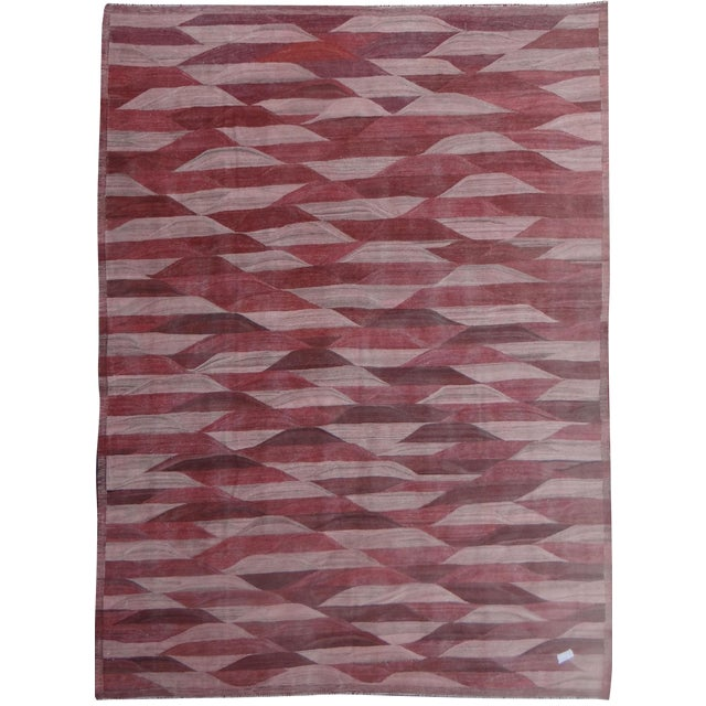 "Hand Knotted Modern Kilim by Aara Rugs Inc. - 13'3"" X 9'11"" For Sale"