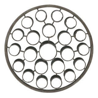 Mid-Century French Metal Frame Round Mirror For Sale