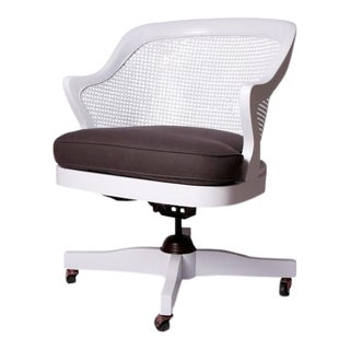 Vintage White Cane Office Chair