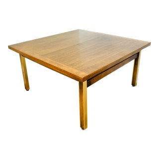 Mid-Century Paul McCobb Linear Group for Calvin Brass and Walnut Coffee Table For Sale