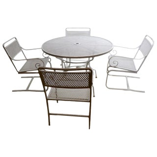 5 Pc. Neoclassic Hollywood Regency Patio Dining Set of Cast Aluminum and Steel For Sale