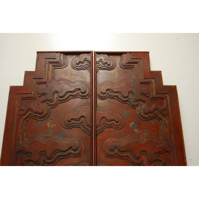 Chinese Carved Temple Courtyard Door Panels - A Pair - Image 2 of 10