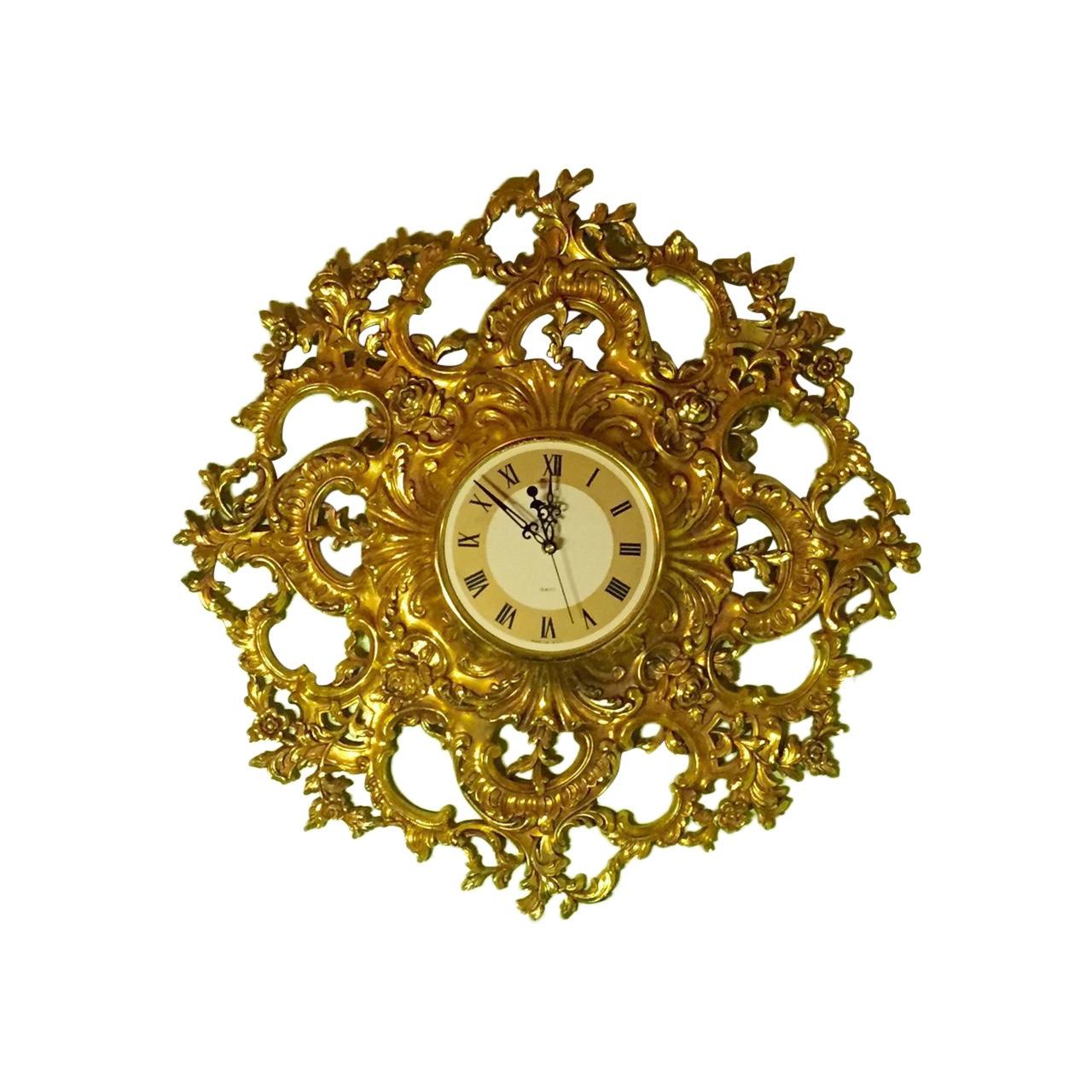 Mid-Century Modern Syroco Gilt Wall Clock | Chairish
