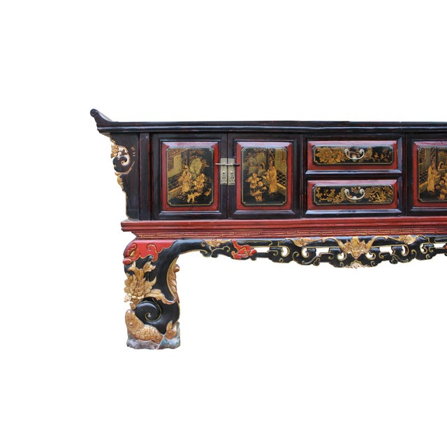 Wood Chinese Fujian Golden Graphic Sideboard Console Table Tv Cabinet For Sale - Image 7 of 10