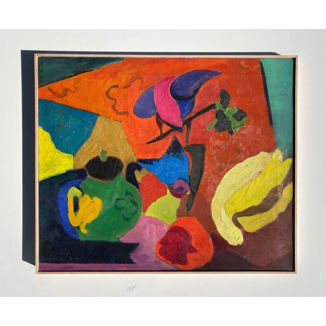 Orange Matisse Style Mid-Century Expressionist Oil on Canvas Painting For Sale - Image 8 of 8