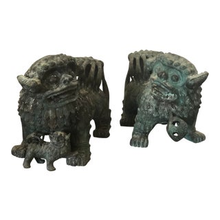 Vintage Large Bronze Guardian Lions or Foo Dogs - A Pair For Sale