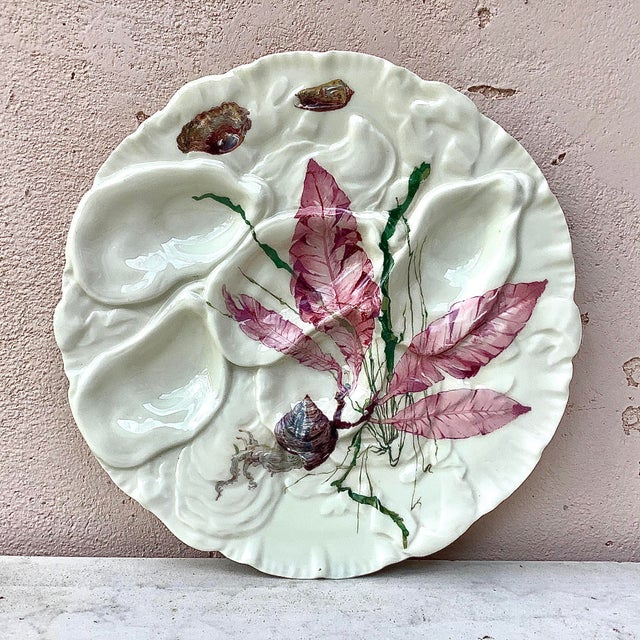 Ceramic French Porcelain Sealife Haviland Limoges Oyster Plate For Sale - Image 7 of 7
