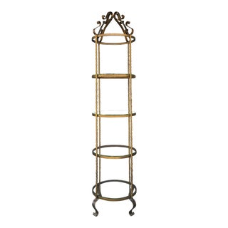 Vintage Regency Style Tall Round Display Shelving Unit For Sale