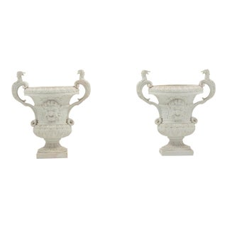 Antique Neoclassical Satyr Head White Bisque German Urns - a Pair For Sale