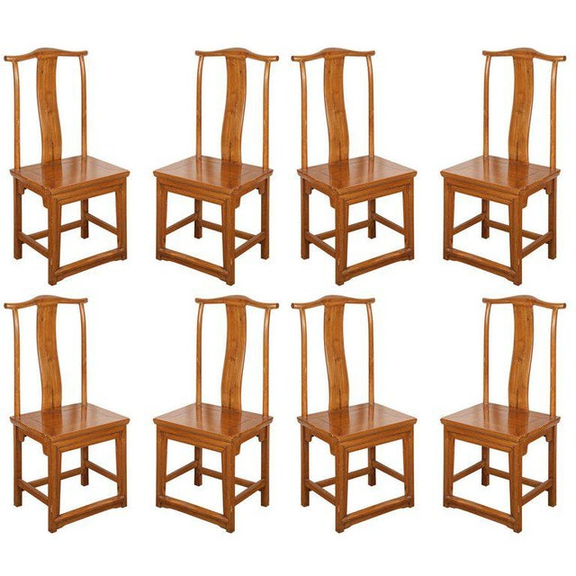 Brown Chinese Ming Style Elm Dining Room Chairs - Set of 8 For Sale - Image 8 of 8