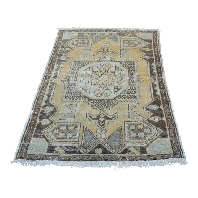 Antique Tribal Faded Rug - 3′11″ × 5′7″ For Sale