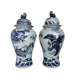 "Chinoiserie B & W Porcelain Ginger Jars Dragon & Phoenix 37"" H"